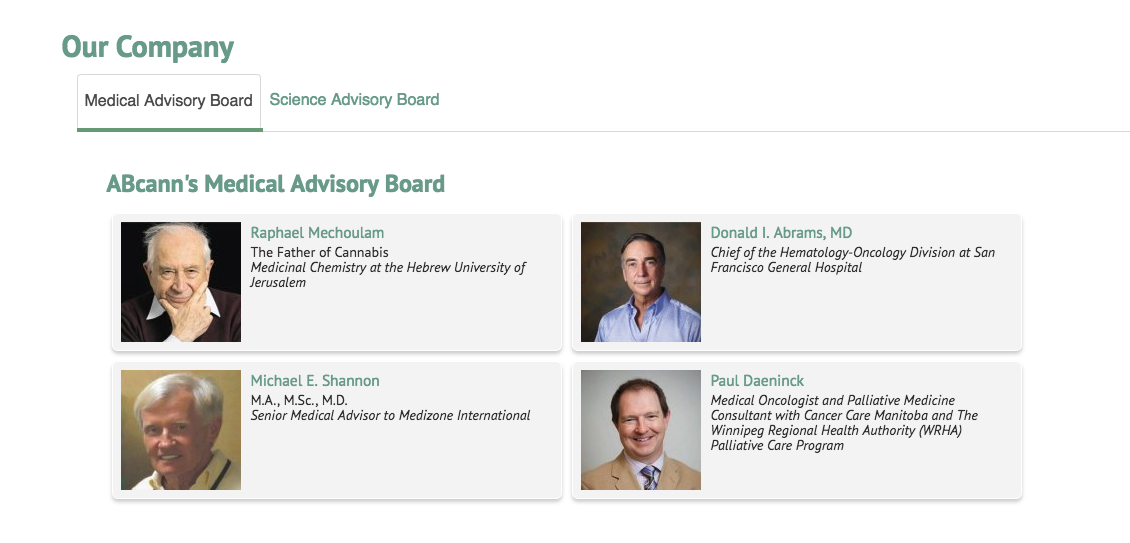 ABcann Medical Advisory Board