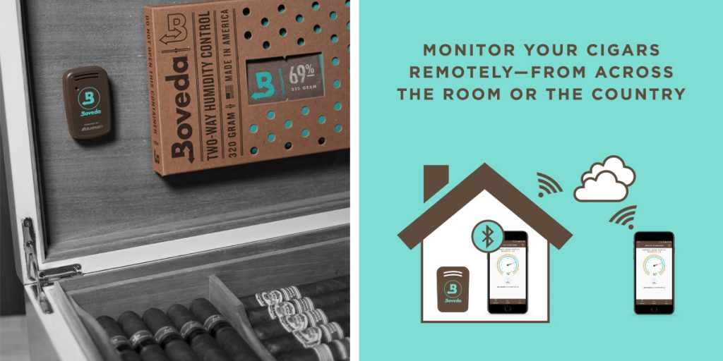 Remotely monitor your cigars with the Boveda Butler, a digital hygrometer for humidor monitoring.