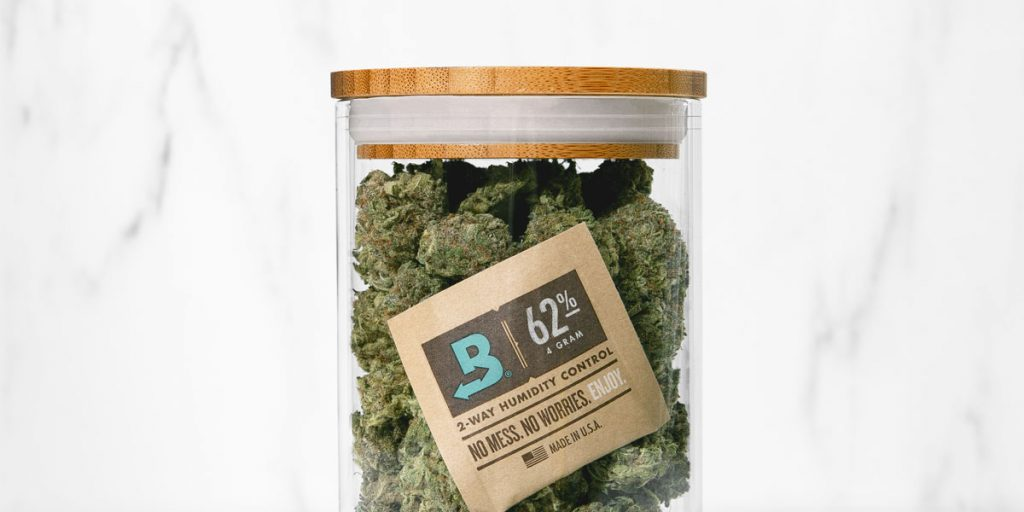Boveda 62% in a jar with cannabis flower.