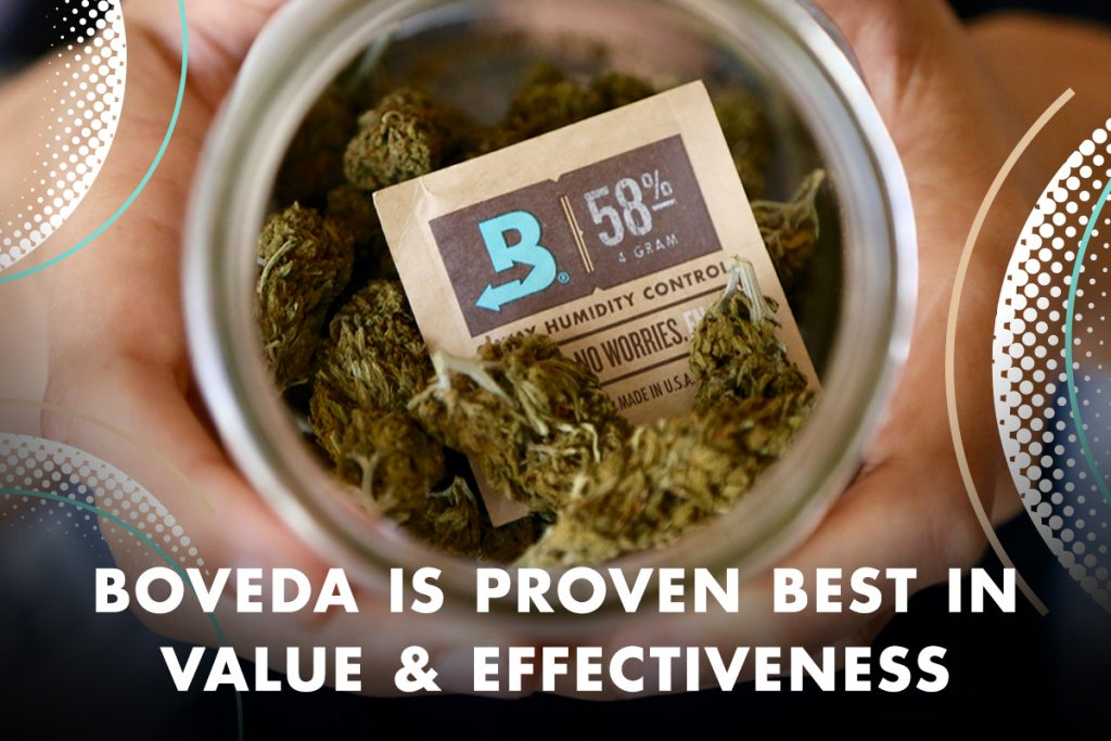 What cannabis humidity pack is the best value? Boveda offers the highest long-term value to achieve and maintain the right relative humidity for storing cannabis to keep it from drying out or growing mold.