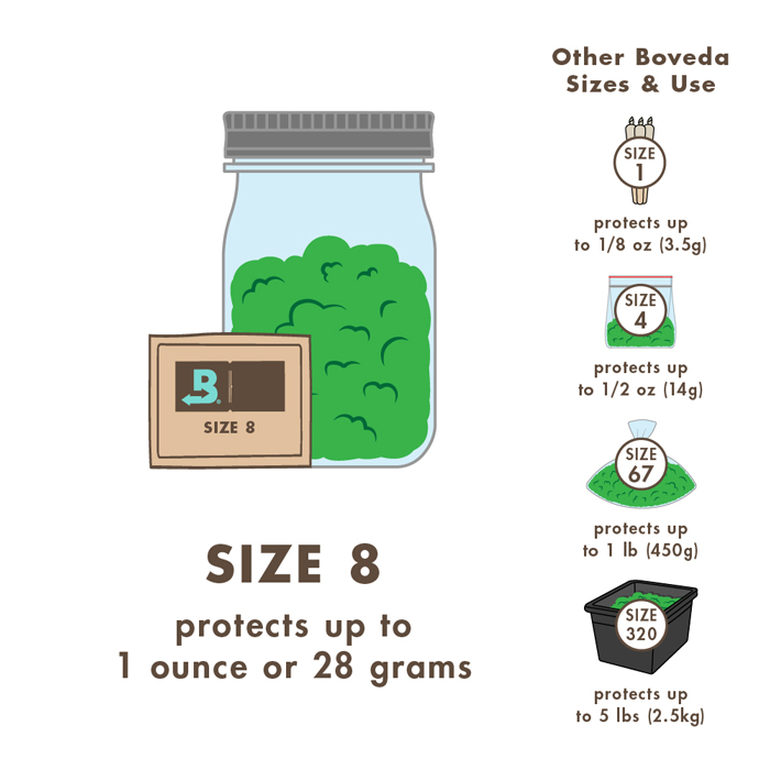 Illustration that describes which size Boveda pack to use.